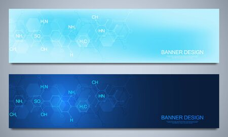 Banners design template and headers for site with abstract chemistry background and chemical formulas. Science and innovation technology concept. Decoration website and other ideas