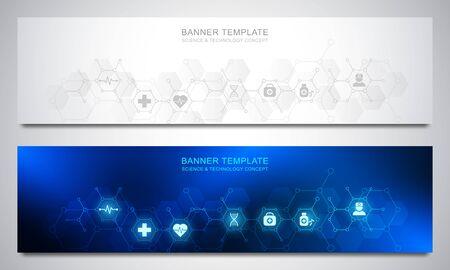 Plantilla de diseño de pancartas para decoración médica y sanitaria con iconos y símbolos planos. Concepto de tecnología de ciencia, medicina e innovación. Ilustración de vector