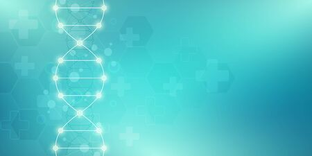 DNA strand background and genetic engineering or laboratory research. Medical technology and science concept. Illusztráció