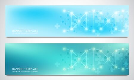 Banners and headers for site with DNA strand and molecular structure. Genetic engineering or laboratory research. Abstract geometric texture for medical, science and technology design.