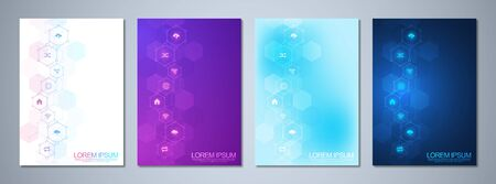 Set of template brochure or cover book, page layout, flyer design with technological background and flat icons and symbols. Concept and idea for innovation technology and communication.