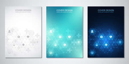 Template brochure or cover with medical icons and symbols. Healthcare, science and innovation technology concept. 일러스트