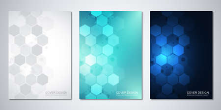 Vector templates for cover or brochure with abstract hexagons pattern. Concepts and ideas for medical, healthcare technology, innovation medicine, science. 일러스트