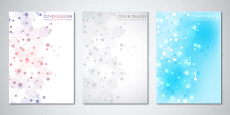 Vector templates for cover or brochure, with molecules background and neural network. Abstract geometric background of connected lines and dots. Science and technology concept. 일러스트
