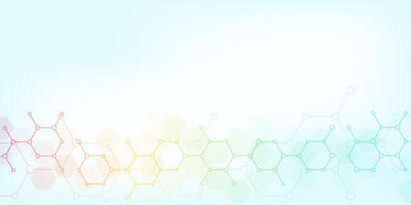 Abstract molecules on soft blue background. Molecular structures or chemical engineering, genetic research, technological innovation. Scientific, technical or medical concept