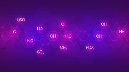 Abstract chemistry pattern on purple background with chemical formulas and molecular structures. Science and innovation technology concept. 스톡 콘텐츠