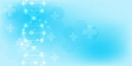 DNA strand background and genetic engineering or laboratory research. Medical technology and science concept. Banque d'images - 152564407