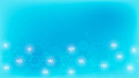 Abstract chemistry pattern on soft blue background with chemical formulas and molecular structures. Template design with concept and idea for science and innovation technology