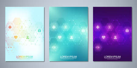 Template brochure or cover book, page layout, flyer design. Concept and idea for health care business, innovation medicine, pharmacy, technology. Medical background with flat icons and symbols 일러스트