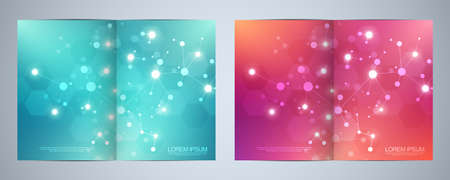 Vector template brochures or cover design, book, flyer, with molecules background and neural network. Abstract geometric background of connected lines and dots. Science and technology concept 일러스트