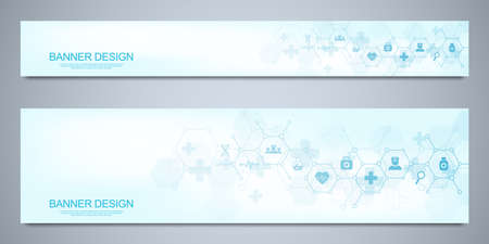 Banners design template for healthcare and medical decoration with flat icons and symbols. Science, medicine and innovation technology concept