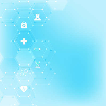 Abstract medical background with flat icons and symbols. Template design with concept and idea for healthcare technology, innovation medicine, health, science and research 일러스트