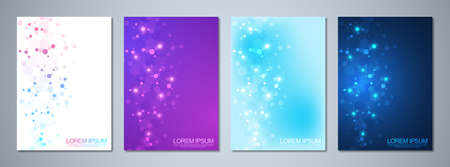 Set of template brochures or cover design, book, flyer, with molecules background and neural network. Abstract geometric background of connected lines and dots. Science and technology concept
