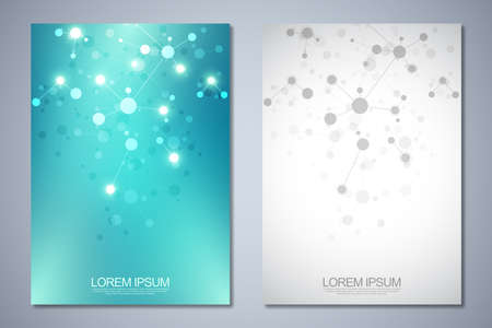 Templates brochure or cover book, page layout, flyer design with abstract background of molecular structures and DNA strand. Concept and idea for innovation technology, medical research, science 일러스트