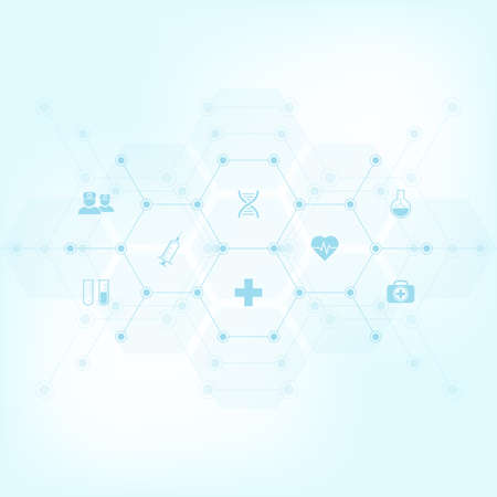 Abstract medical background with flat icons and symbols. Template design with concept and idea for healthcare technology, innovation medicine, health, science and research Imagens