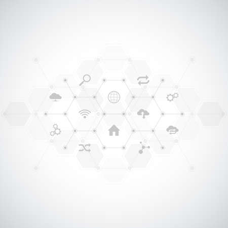 Technology background with flat icons and symbols. Concept and idea for internet of things, communication, network, innovation technology, system integration