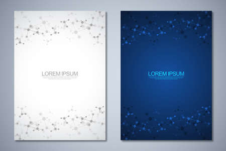 Templates brochure or cover book, page layout, flyer design with abstract background of molecular structures and DNA strand. Concept and idea for innovation technology, medical research, science. 矢量图像