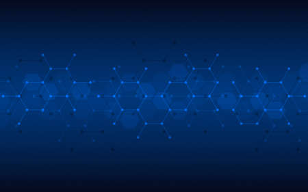 Geometric abstract background of innovation technology concept. Hexagon pattern, molecular structure, genetic engineering. Concepts and ideas for technology, science, and medicine. Vector illustration 矢量图像