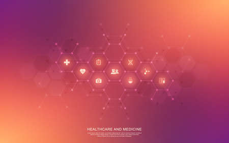 Healthcare and technology concept with flat icons and symbols. Template design for health care business, innovation medicine, pharmaceutical industry, science background, medical research. 矢量图像