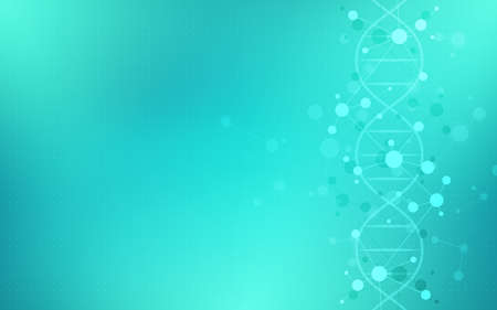 DNA helix and molecular structures. Science, medicine, and technology concept.