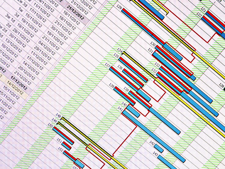 gantt: Construction Programme  with dropline Stock Photo