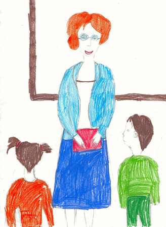 Drawing on paper. Teacher with children in classroom Stock Photo