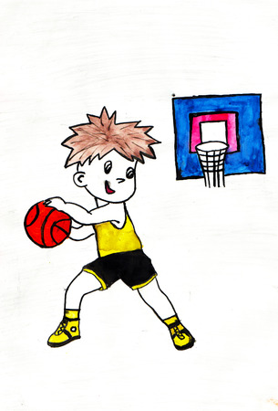 Boy playing basketball. Drawing on paper. White background Stock Photo