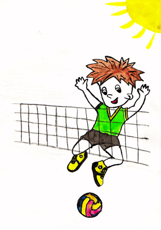 Jongen speelt in volleybal. Tekening op papier. witte achtergrond Stockfoto