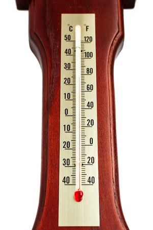 old mercury: Thermometer Isolated on White Background. At thermometer wooden base
