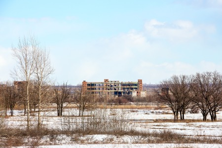 The image of an abandoned factory. The view from afar 2 Stock Photo