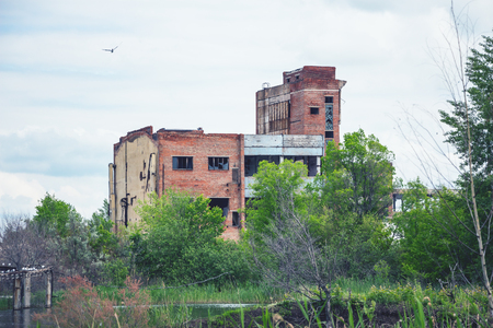 trashed: The abandoned building is located among the trees. There is a pond in front of the building. This is a former factory or office