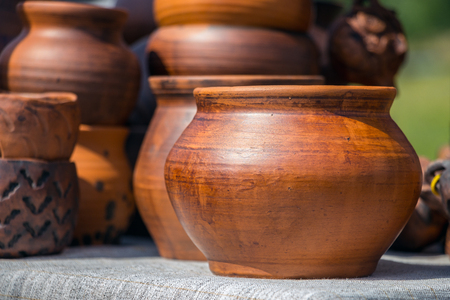 Wooden pot handmade on a natural background