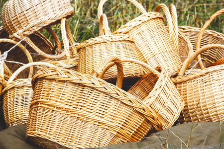 Many wicker baskets handmade are in one place