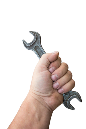 Wrench in male hand isolated on white background