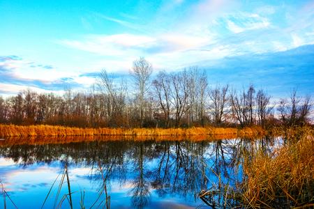 Поздняя осень. Осенний пейзаж на озере.