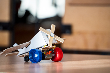 Small Airplane toy handmade on the table Stock Photo