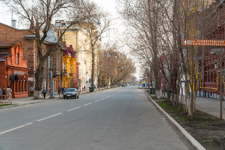 Russia, Samara, May 01, 2018: Quiet street in the city. Molodogvardeyskaya street in the city of Samara