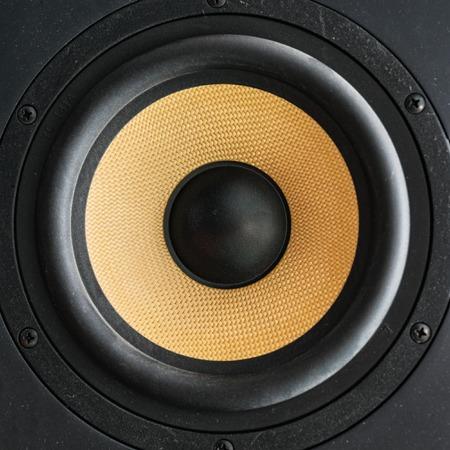 Speaker loudspeaker with yellow diffuser. Studio audio monitors