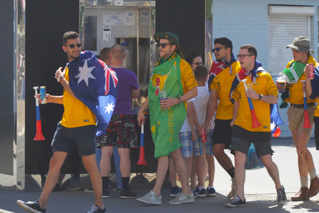 SAMARA, RUSSIA - JUNE 21, 2018: Australian football fans on the streets of Samara during the football world Cup 2018
