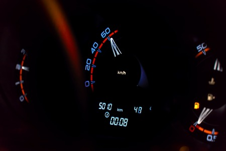Speedometer in the car on the dashboard. Car dashboard Stock Photo