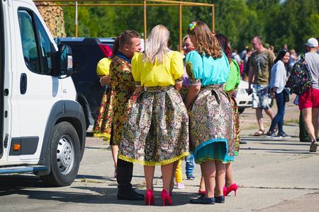 Samara, Russia - August 18, 2018: Women in folk costumes on the streets. Folklore