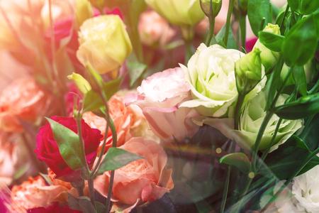 Boeket van rode en witte rozen. Decoratief bloemstuk van witte en rode rozen in zonlicht