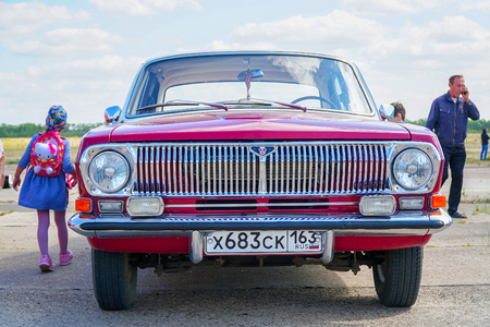 Samara, Russia - August 18, 2018: The appearance of a retro car Volga Gas-24