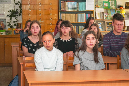Chapaevsk, Samara region, Russia - April 17, 2019: College in Chapaevsk city. Students in the classroom