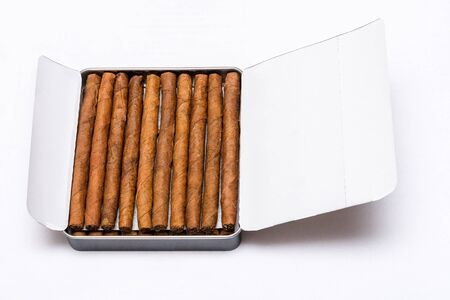 Box of cigarillos on a white background