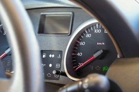Speedometer and dashboard of the car. Selective focus
