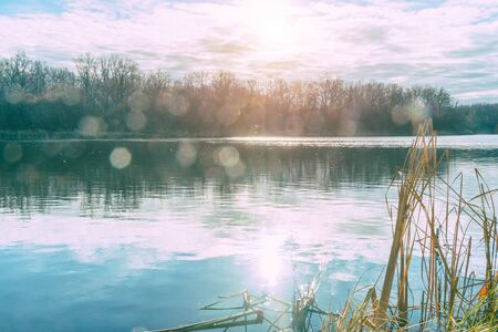 Autumn lake in sunlight. Sunset in autumn on the lake. Shot with reflections in the lens Imagens