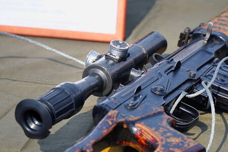 The upgraded AK47 assault rifle with optical sight Stok Fotoğraf