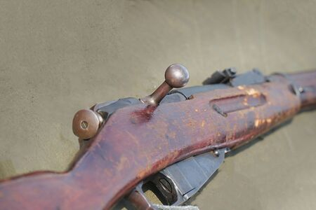 Vintage Russian rifle carbine on natural background