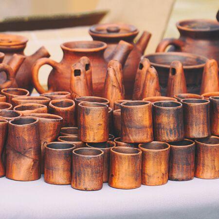 Handmade wooden utensils on the table